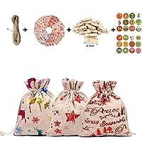 LTDD 24クリスマスデコレーションコットンリネンバッグセットギフトバッグ、クリスマスパーティーキャンディーバッグカレンダーカウントダウンバッグ、子供クリスマスパーティーカードギフトペーパーバッグ