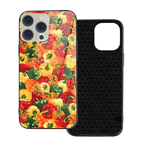 Funda para teléfono Bell Pepper Funda para teléfono para iPhone 12/12 Mini / 12 Pro / 12 Pro MAX Carcasa Trasera de Vidrio Templado + TPU para iPhone 12mini MAX 5.4 Pulgadas