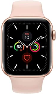 Apple Watch Series 5-44mm Gold Aluminium Case with Pink Sand Sport Band - S/M & M/L, GPS, watchOS 6, MWVE2AE/A