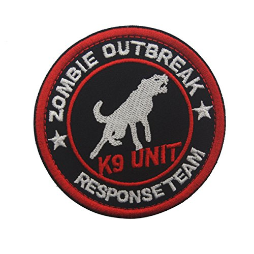3' Round Sized Zombie Outbreak Response Team K9 Unit Embroidered Patch Hook and Loop Backed Badge for Tactical Dog Harness Vest