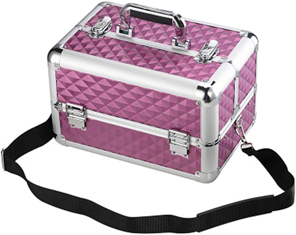 WLJBD Large Makeup Case Aluminium Cosmetic Vanity Box Beauty Organiser Case Train Case 4 Trays Lockable Lock with Keys Shoulder StrapProduct No.:WW-21 (Color : Pink, Size : 35 x 24 x 22 cm)
