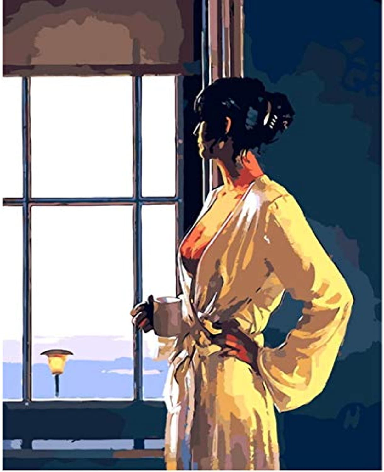 CAYYOU DIY picture oil painting by numbers paint by number for home decor for living room after bathing, Framed, 50x60cm