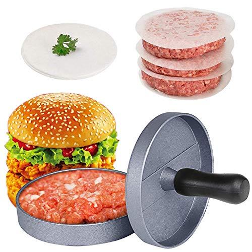 Prasa do hamburgera, nieprzywierająca prasa do burgera, hamburger Patty Maker, z 40 szt. dwustronnym silikonowym papierem olejowym, wielokrotnego użytku, do robienia burgerów, pasztetów, imprez, domu, grilla, przyborów kuchennych (szary)