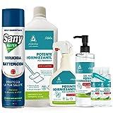 Set Igienizzante Casa Superfici Pavimenti Mani Gel con Spray Virucida per Ambienti e Tessuti| 6 Pezzi| Set Igiene Batteri Completo| Famiglia Protetta| (Set Completo)