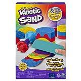 Kinetic Sand, Set Sabbie Arcobaleno, con 3 Colori di Sabbia (382 G) e 6 Accessori, dai 3 Anni