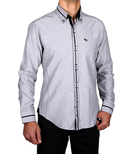Slim Fit Designer Hemd-Clubwear, HK Mandel Retro Clothing Slim Fit Hemden Größe M