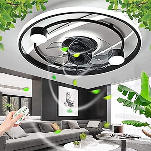 Luz De Techo De Ventilador Redondo Moderno, Ventilador LED Ventilador De Techo De Acrílico, Con Control Remoto Lámpara Invisible Regulable, Sala De Estar De Vivienda Iluminación De Techo