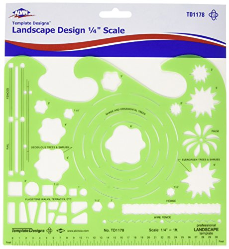 "Alvin, TD1178, Landscape Design Template, 7"" x 8.25"" x .030"""