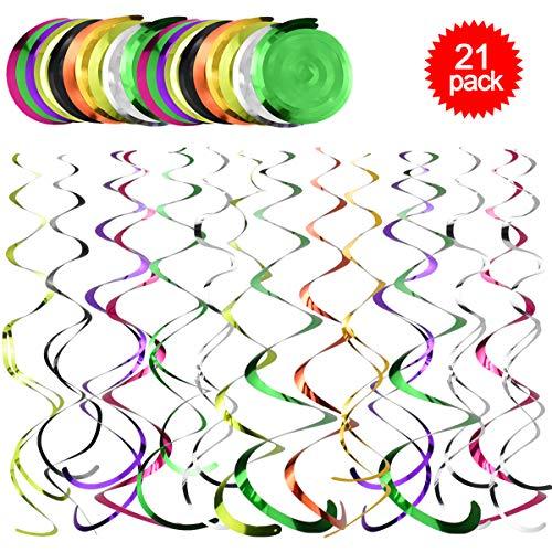 Fodlon 21 Stück Wirbel Deko,Multicolor Geburtstagsdekorationen ,2 Arten Deckenhänger Spirale für Geburtstag, Hochzeit, Monther's Day (Länge 50 cm / 60 cm)