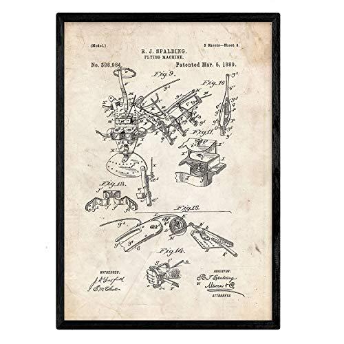 Nacnic Poster con patente de Control del avion. Lámina con diseño de patente antigua en tamaño A3 y con fondo vintage