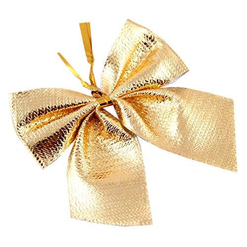 kotiger 24LED de Navidad árbol de Navidad lazos Tie prnaments Navidad decoración para el hogar, dorado, 5.5*4.5cm