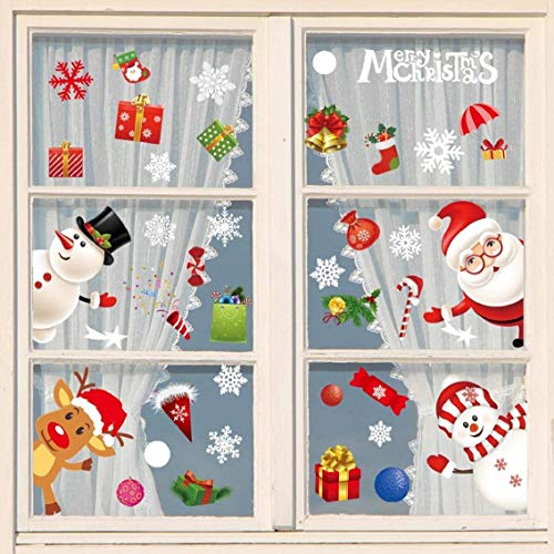 Natale Vetrofanie Decorazione Della Decalcomania Della Home Christmase Decor Wallpaper Babbo Natale pupazzo di neve Alci Di Natale fiocco di neve