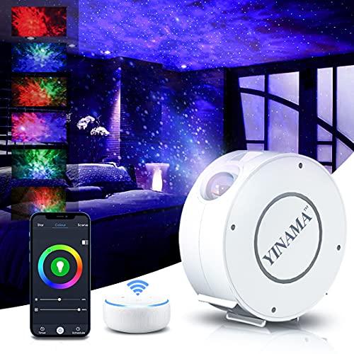 LED Alexa Lampada Proiettore Stelle Smart, Notturna Bambini Adulti Proiettore Soffitto, Regolazione 360° Rotazione RGB Led Galassia Proiettore Smart, conControllo vocale/WiFi/Timer