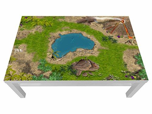 Stikkipix Dinoland Möbelfolie | LCG02 | passgenau für den Lack Spieltisch von IKEA (Möbel Nicht inklusive)