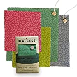 LARGESS Beeswax Wraps Set of 4 - Resuable, Sustainable, Plastic-free food storage alternative - 2 large with button and string secure + 2 small