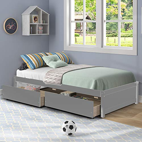 Twin Bed Frames with Storage Drawers and Slats, Loft Twin Size Platform Captain Bed for Kids Teens Girls Boys, Bedroom Guest Room Wooden,No headboard - Gray