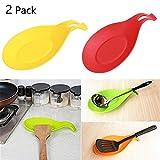 LVEDU - Juego de 2 soportes para cuchara de cocina, silicona, para accesorios de cocina, cucharas, espátula, cepillos, cubiertos 2 unidades