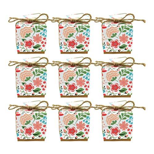 PRETYZOOM 50 stks Candy Treat Boxen Retro Bloem Gedrukt Chocolade Snoepjes Opslag Container Kleine kubus Vierkante Geschenkdoos voor Bruiloft Verjaardag 100pcs Afbeelding 1