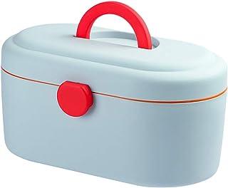 TOPBATHY First Aid Medicine Box Pill Medicine Lock Box Compartment Pill Drug Storage Case Organizer with Handle for Home (Blue)
