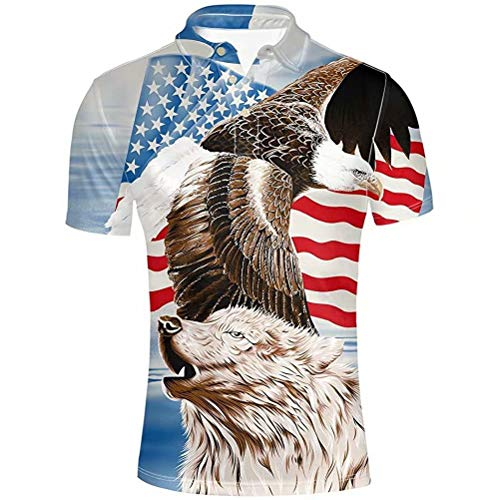 AFPANQZ American Flag Eagle and Wolf Men Polos Shirts Shortsleevee Casual Poloshirts Novelty Fashion Animal T-Shirts Tunic Standard-Fit Sweatshirts L