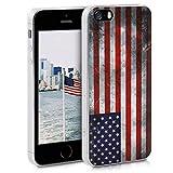 kwmobile Funda Compatible con Apple iPhone SE (1.Gen 2016) / 5 / 5S - Carcasa de TPU y Bandera de USA Retro en Azul/Rojo/Blanco