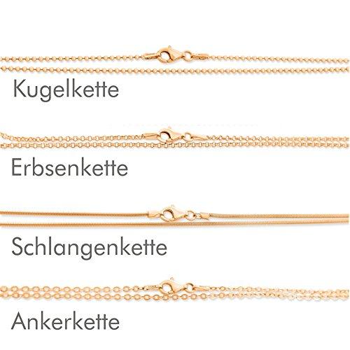 Halskette Kinder 38cm ❤️ rose Goldkette aus 925 Sterling Silber ❤️ Kugelkette Erbsenkette Ankerkette Schlangenkette ❤️ Kette für Anhänger für Kinder für Frauen 38cm lang kurze Babykette