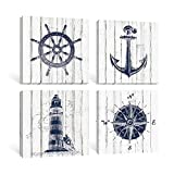 Adecuado Rustic Wall Art Boat Anchor Paintings Helm Drawing Compass Print Lighthouse Home Decor Nautical Style Pictures Dark Blue Artwork Ready to Hang for Bathroom Living Room 12x12 Inch, 4 Panels