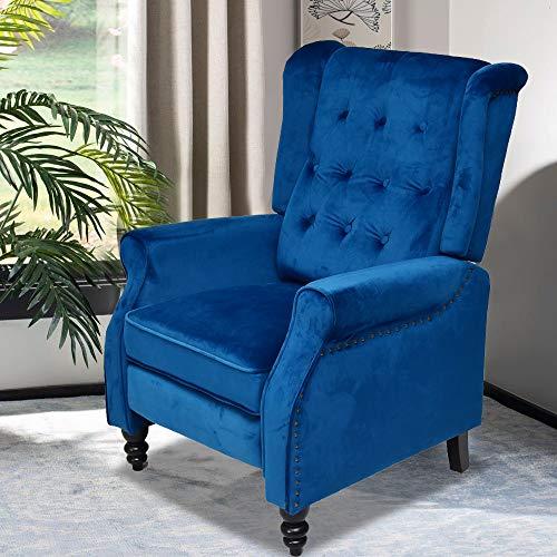 Sillón reclinable de terciopelo con respaldo alto, ajustable, color azul