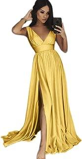Jonlyc Women's V Neck Sleeveless Empire-Waist Satin A Line Long Prom Evening Dress with Slit