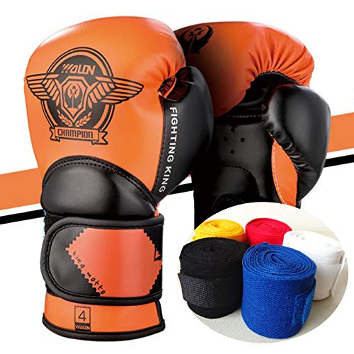 Guantoni Boxe Bambini 4oz 6oz Guantoni da boxe Bendaggi da 3 a 10 anni Muay Thai Taekwondo Sanda Fight