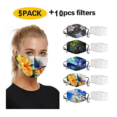 5 STK Atmungsaktiv Gesichtsbedeckung waschbar mundschutz mit 10 Filter,mundschutz mit Motiv Baumwolle wiederverwendbar mundschutz für Erwachsene zum Laufen, Radfahren