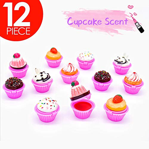 Tytroy Assorted Scented Novelty Lip Gloss Cupcake Lip Balm Makeup Party Favor (12 pc)