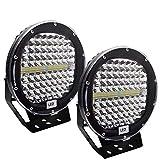 Safego 408W 9インチLED 作業灯 ワークライト ホワイト 丸形 狭角タイプ 30度 136連 LED 車外灯 農業機械 ホワイト 6000K 12V-24V対応 汎用 防水・防塵・耐震・長寿命 車外灯 2個入 黒 1年保証