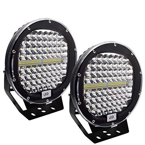 Safego 2pcs Focos LED Tractor, 9  408W 32600LM Faros Trabajo LED Spot 12V-24V LED IP68 Impermeable Luz de Niebla para Coche, SUV, UTV, ATV, Off-road, Camión, Moto - Garantía de 1 años(Concha negra)
