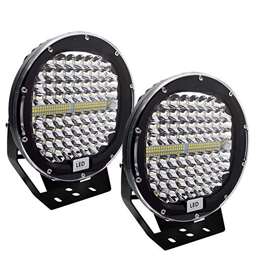 Safego LED Pods Light Bar 9inch Round 2Pcs 408W 40800Lm Waterproof Spot Beam Led Work Light Off Road Lights Driving Light Compatible with Truck SUV ATV Tractor Boat