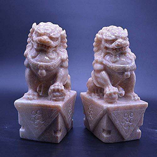 ZHTY Große Peking Löwen Paar Fu FOO Hunde Statuen (EIN Paar) Ton Chinesische Feng Shui Dekor Wohlstand Zubehör Figur, Haus und Büro Garten Skulptur