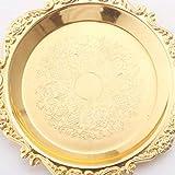 BESTONZON Eisen Servierplatte Dessertteller Runde Kuchenteller Dekoteller zum Servieren von Dessert Obst Schmuck (Golden) - 3