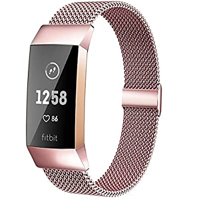 MioHHR Metal Bands Compatible with Fitbit Charge 3 / Charge 4 Bands for Women Men, Breathable Stainless Steel Replacement Wristband Accessories for Charge 3 SE Fitness Activity Tracker, Rose Pink