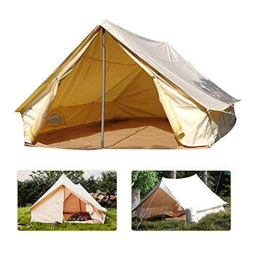 Outdoor Canvas Tipi Tent,Humanoid Tent,Large Canvas Wall Tent Waterproof,Yamagata Tent,Outdoor Camping Thickened Rainproof Double Door Bell-Shaped Yurt Camp Hotel Oxford Cloth Tent(2-4 Person)