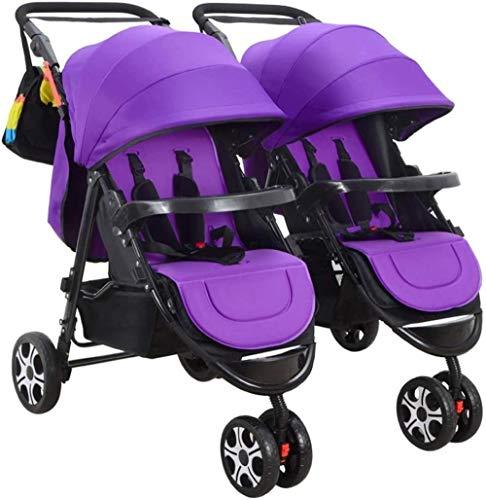 HZYD Poussette Double, Double Tandem Poussette de bébé, 5 Points Ceintures de sécurité, Design Pliable for Easy Transport (Couleur: Violet) (Couleur: Rose), Couleur: Rouge ( Color : Purple )