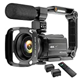 Video Camera Camcorder 4K YouTube Camera Night Vision Camcorder Vlogging Camera 16X Digital Camera Vlog Video Camera Camcorder with Remote, Microphone, Lens Hood and 2 Batteries