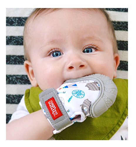Nuby  Soothing Teething Mitten with Hygienic Travel Bag, Grey, 1 Count