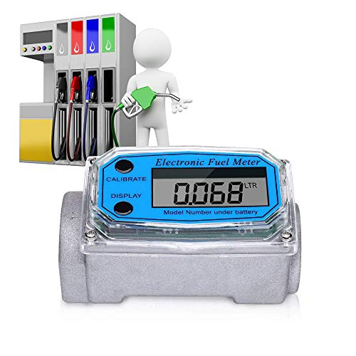 Digital Turbine Flow Meter, LCD Display with NPT Counter Gas Oil Fuel Flowmeter Measure Diesel, Kerosene, Gasoline 1 Inch