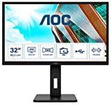 AOC Q32P2 - Monitor Home Office - QHD 2K 32', 2560 x 1440, IPS, 75 Hz, 250 CD, Regulable Altura, Color Negro