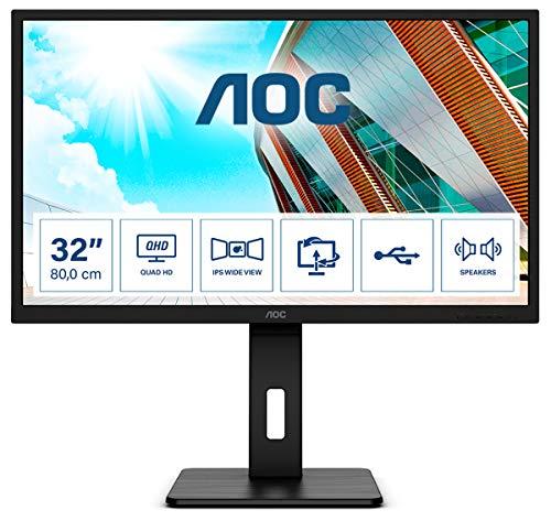 "AOC Q32P2 - Monitor Home Office - QHD 2K 32"", 2560 x 1440, IPS, 75 Hz, 250 CD, Regulable Altura, Color Negro"