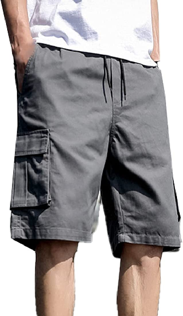 Cromoncent Men's Casual Loose Drawstring Cargo Shorts with Multple Pockets