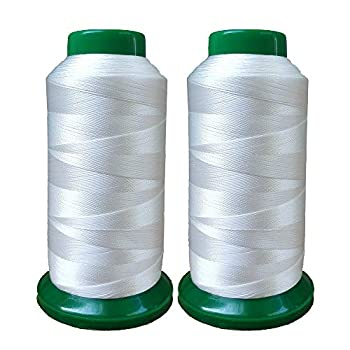 Polyester Thread Heavy Duty Bonded UV Resistant High Strength Outdoor Thread #69 T70 Size 210D/3Ply for Upholstery Outdoor Market Drapery Leather Beading Crafts 3000Yards Pack of 2  White