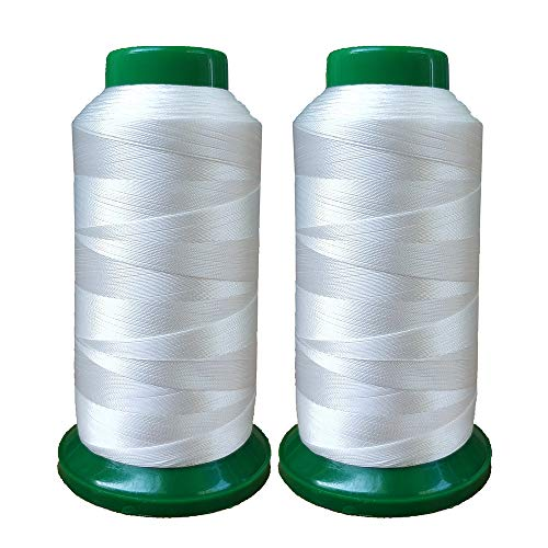 Polyester Thread Heavy Duty Bonded UV Resistant High Strength Outdoor Thread #69 T70 Size 210D/3Ply for Upholstery, Outdoor Market, Drapery, Leather, Beading, Crafts, 3000Yards Pack of 2 (White)