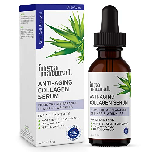 Anti Aging Peptide Complex Collagen Facial Serum - Reduces Signs of Lines & Wrinkles - Lift, Firm & Plump Skin With Hyaluronic Acid, Niacinamide, NASA Stem Cell Technology - InstaNatural - 1 oz