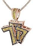 Taglio rotondo giallo naturale Diamond Triple 7collana con ciondolo in oro 18ct su argento sterling, placcato oro, argento), Argento placcato oro rosa 18 ct, cod. M-CSP-03369-RSL